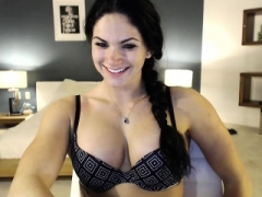Brunette Eva Angel having a mad solitary masturbation