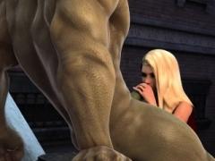 Incredible Hulk bangs charming blonde gal