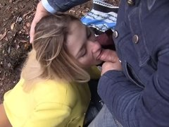 Insidious girl works hard to make two fellows cum in the forest