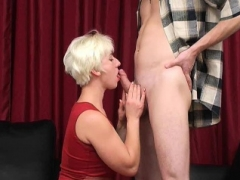 Excited breasty blonde MILF knows how to quench young phallus