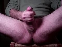 Jerking purple rod, squirting orgasm