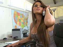 Incroyable, Américain, Gros seins, Brunette brune, Mère que j'aimerais baiser, Bureau, Secrétaire, Grande