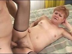 Granny gets a sticky creampie