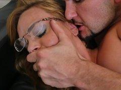 Cute glasses girl keeps her socks on for a hardcore sex scene