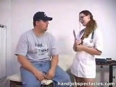 Porky Guy Gets Handjob From Nurse
