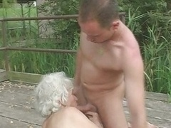Granny Norma Fucks & Gives bj Outdoors