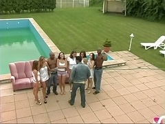 Interracial Swimming Pool Sex Party!