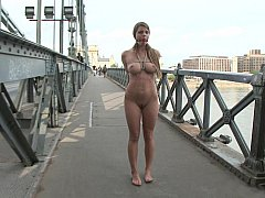Big natural titted Euro girl sucking outside