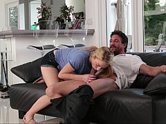 Handsome dad with a teen hottie on a couch
