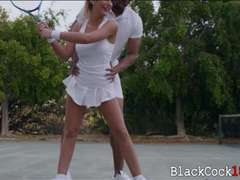 Big boobs teen August Ames interracial after playing tennis