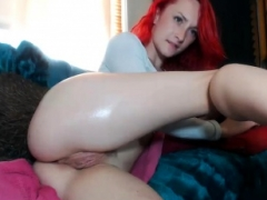 Unforgettable redhead freak loves masturbation ass play