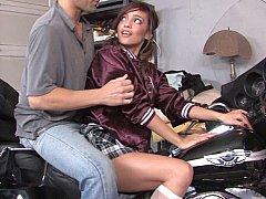 Melanie on her teacher's Harley