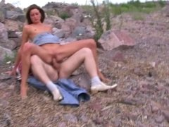 Outdoor threesome fuck with amteur whore by the beautiful lake