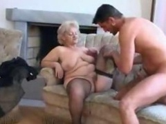 Heavyweight Grown-up Blonde Granny In Stockings Gets down and dirty