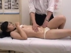 Schoolgirl Massaged Fingered Clean-shaven Love hole Fucked By The Masseur Internal cumshot On The Massage Bed
