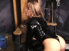 Playgirl gets her boots licked by villein in female domination act