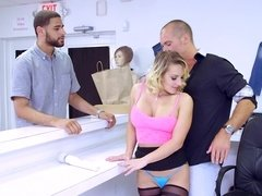A blonde undresses at her job and she gets fucked really hard