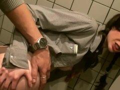 Banging in a public bathroom with a super cute slut