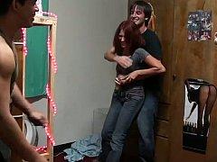 18 jaar, Enthousiasteling, Jonge meid, Universiteit, Hardcore, Roodharige vrouw, Mager, Tiener
