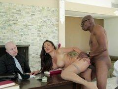 Brunette is having interracial sex in front of her husband