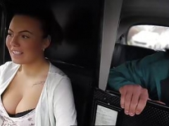 Taxi kitten with amazing natural tits makes her guest happy