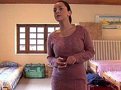Chambre à dormir, Brunette brune, Mignonne, Gode, Européenne, Groupe, Fête, Adolescente