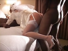 Cuckold wedding night with a pair of black knobs