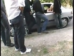 French Blonde Gangbanged By Unkn...