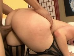 Latina girl in sexy striped stockings laid by a dark dick