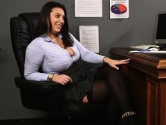 Bigtitted brit voyeur teases cfnm sub from desk