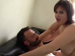 Slightly fat lady Laura Louise gets mouth fucked and rough sex