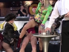 Hot bitches pleasure some cum cannons in public