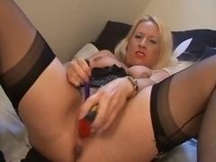British slut faye rampton plays with herself on the bed