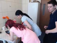 素人, バック, 赤毛, 三人, ウェブカメラ