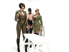 Lez BDSM Latex Two doms punish a sub