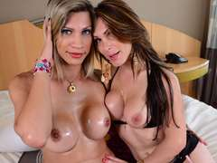 Tgirl Leticia Andrade gets gang banged by TS Angel and a guy