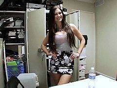 Backroom brunette blowjob
