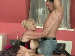 Bigtitted granny does titjob and besides gets fucked