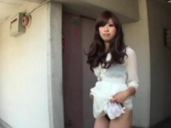 Asiatic babe pees in public