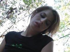 Unprofessional prostitute caresses dick in the park
