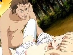 Blonde anime gets her holes penetrated