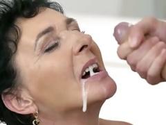 Slutty granny Pixie loves taste of Jasons cock juice on her face