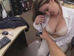 Big tittied milf gets fucked at the pawnshop in exchange of cash