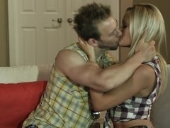 A blonde with a sexy ass is kissed and she is loving it