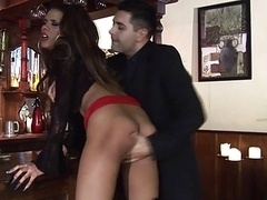 British slut Keisha gets fucked in black stockings