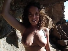 Rahyndee James naked beach making love POV