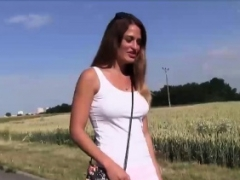 Hot and additionally melons girl Nicole fucked hard outdoor for money