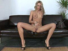 Tall skinny Erica Fontes masturbating and sucking