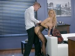 Fiery blonde and office worker arranged bunny fuck in the cabinet