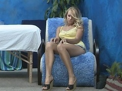 Youthful blonde pretty massagist